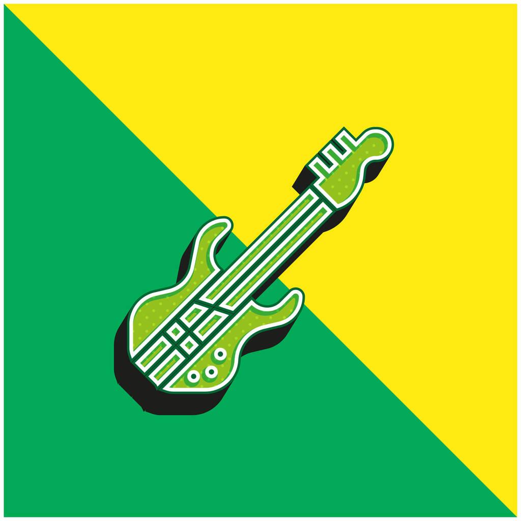 Bass Guitar Green and yellow modern 3d vector icon logo
