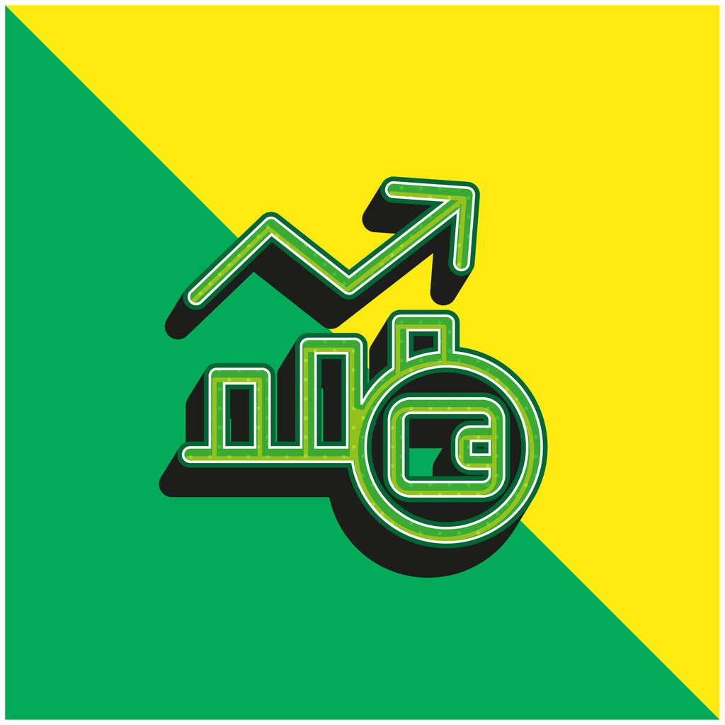 Analytics Green and yellow modern 3d vector icon logo