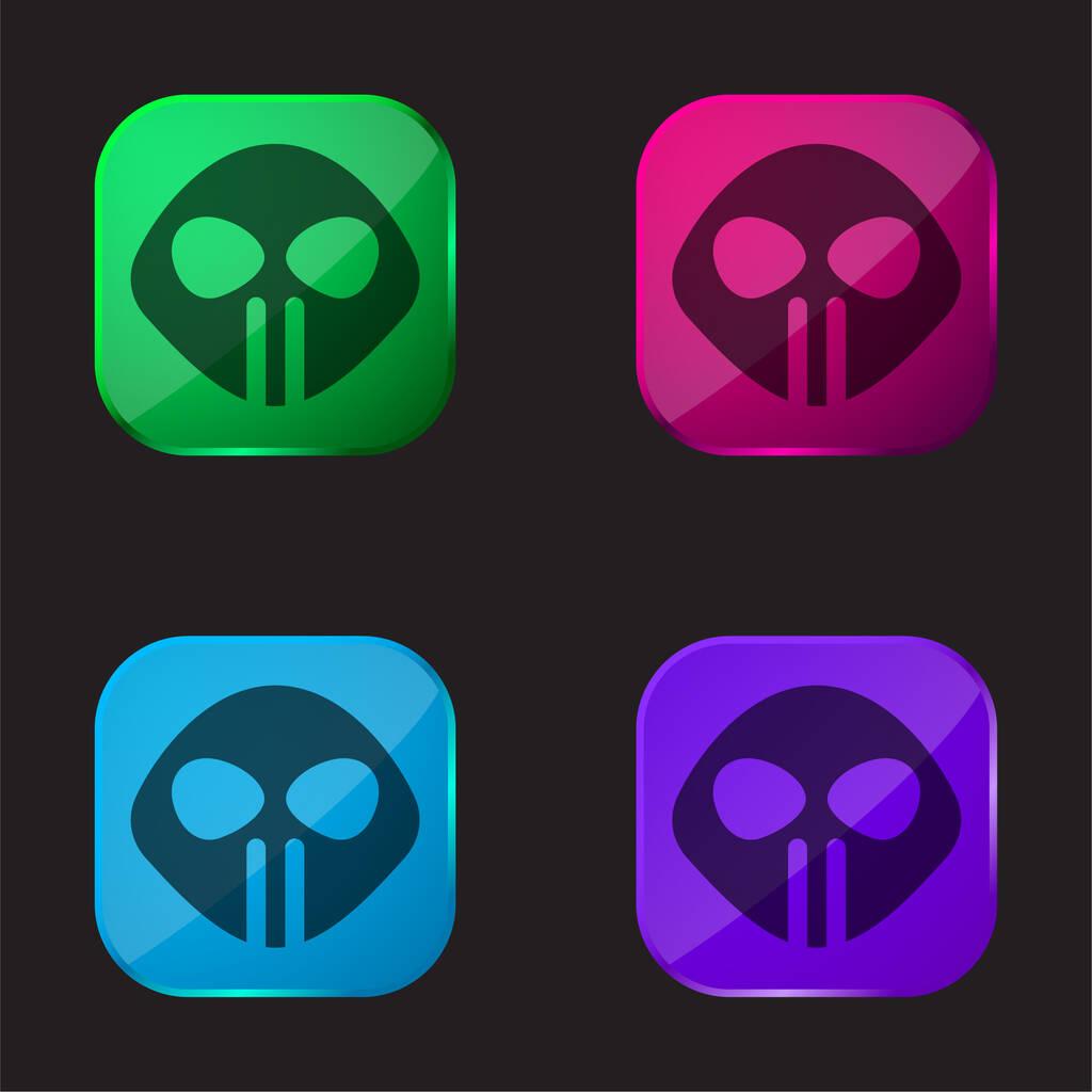 Alien four color glass button icon