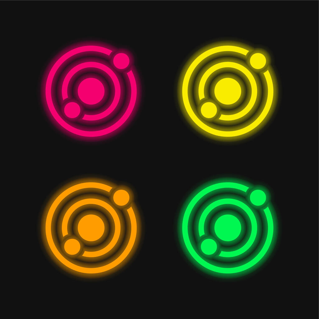 Astronomy four color glowing neon vector icon