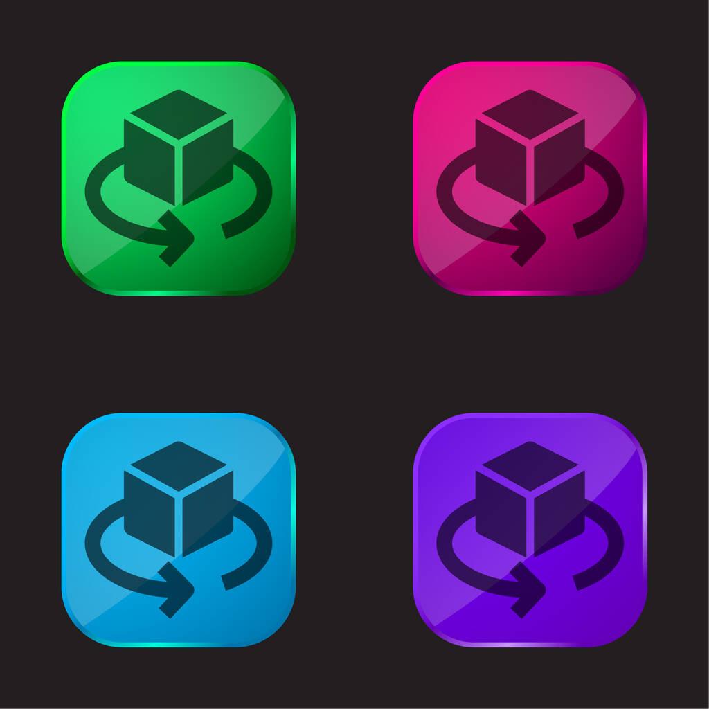 3D Design four color glass button icon