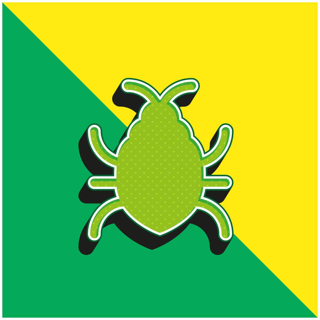 Big Bug Green and yellow modern 3d vector icon logo