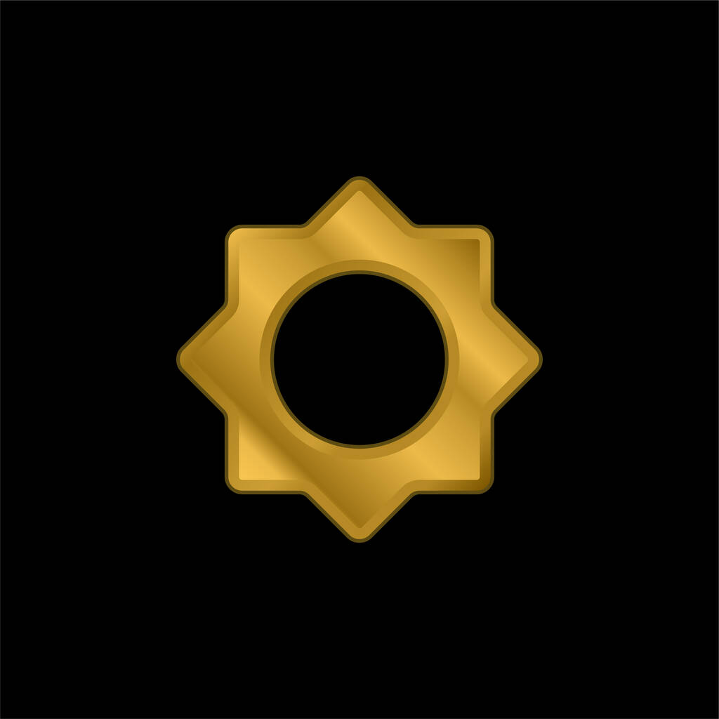 Astrological Sun gold plated metalic icon or logo vector