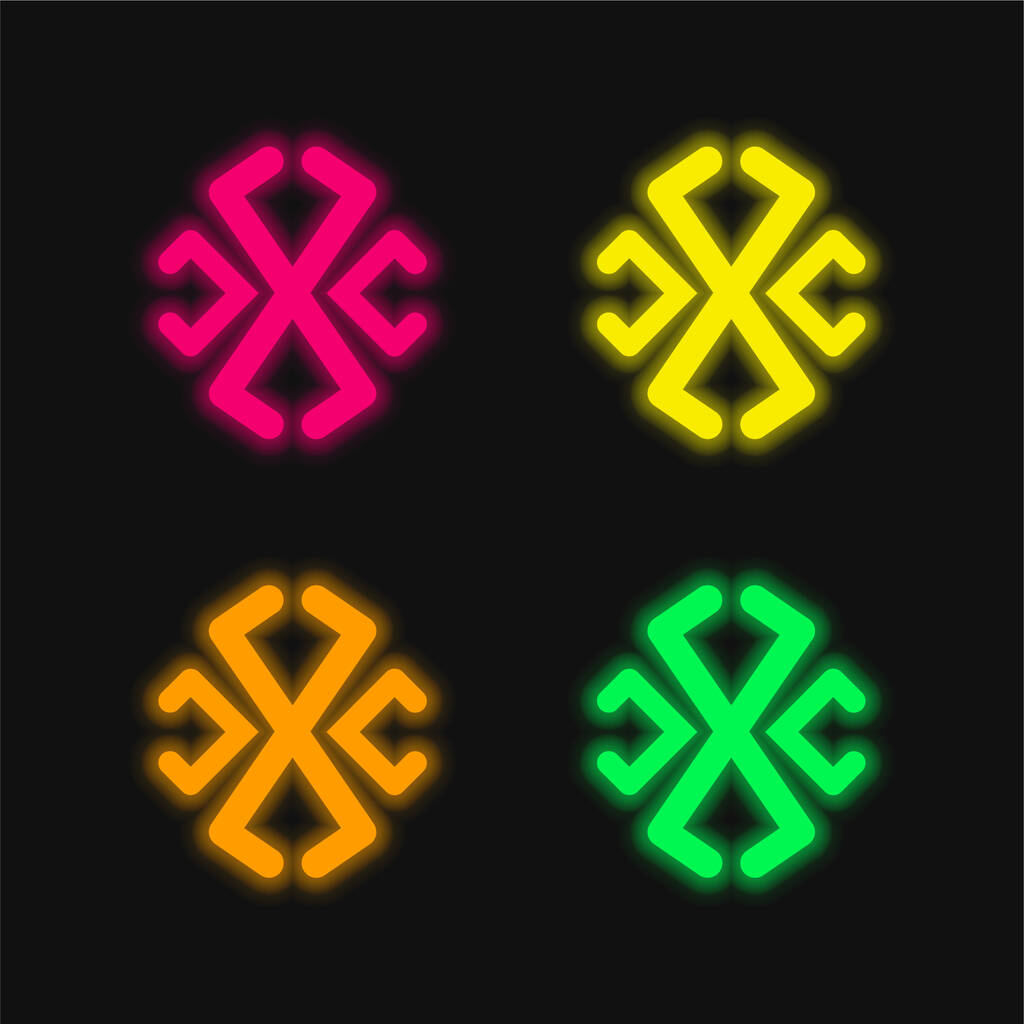 Astrological Line Symbol four color glowing neon vector icon