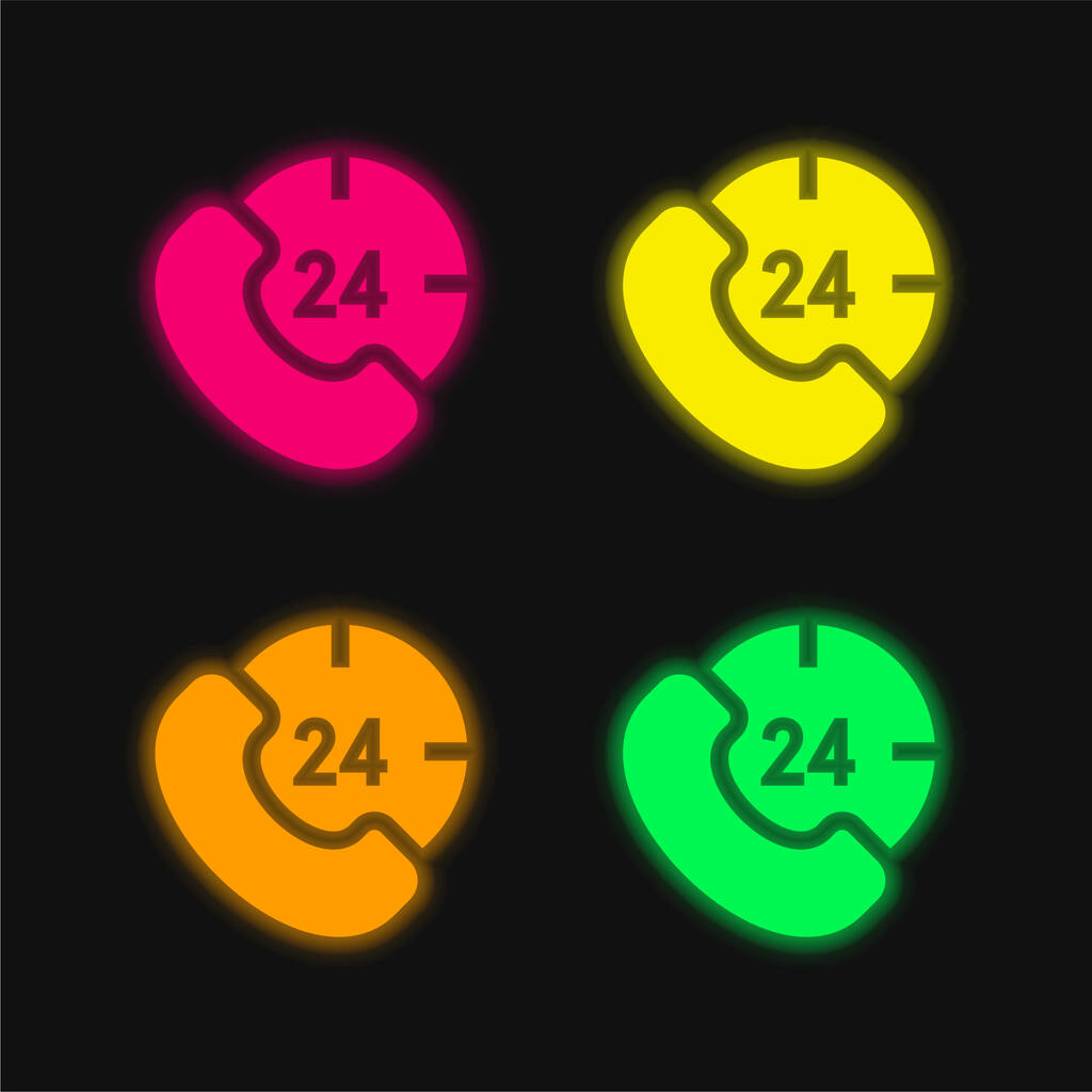 24 Hours four color glowing neon vector icon
