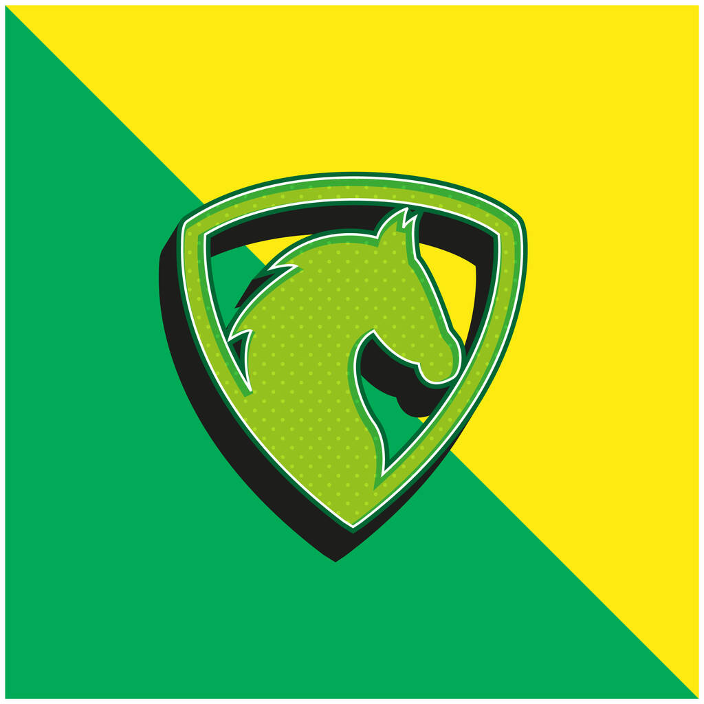 Black Horse Head In A Shield Green and yellow modern 3d vector icon logo