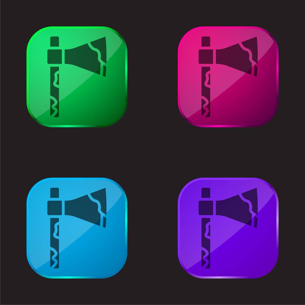 Axe four color glass button icon
