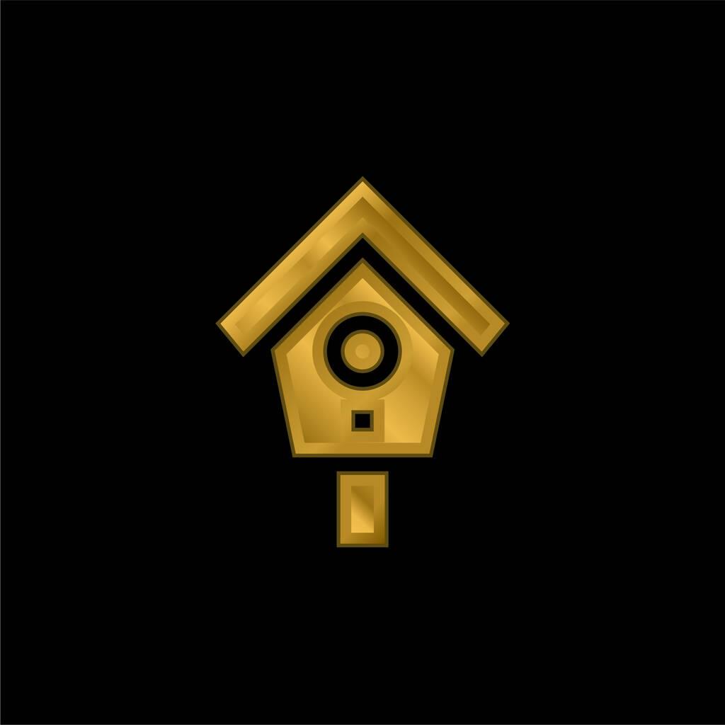 Bird House gold plated metalic icon or logo vector