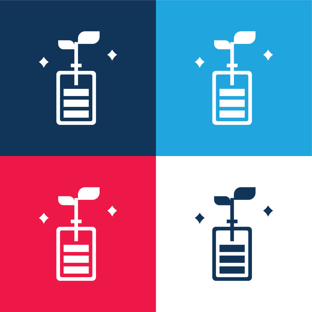 Battery blue and red four color minimal icon set