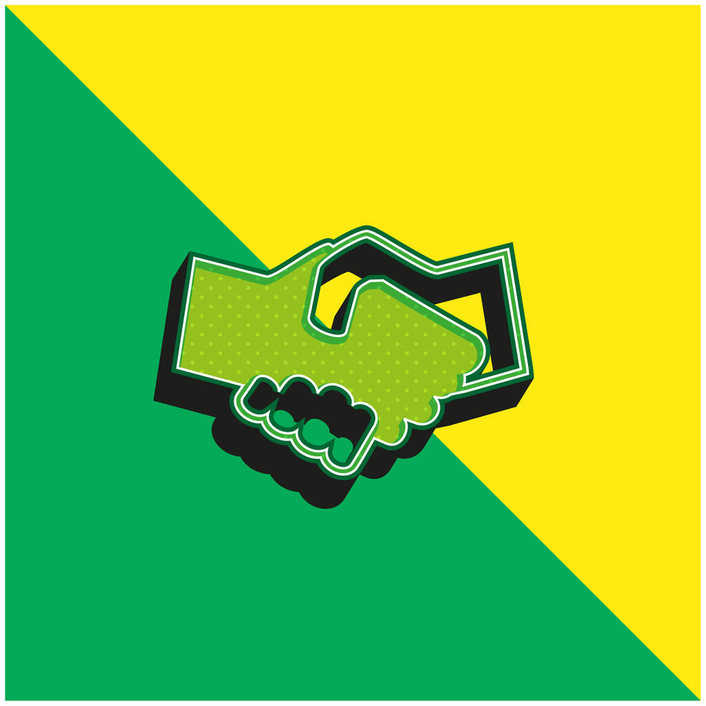 Black And White Shaking Hands Green and yellow modern 3d vector icon logo
