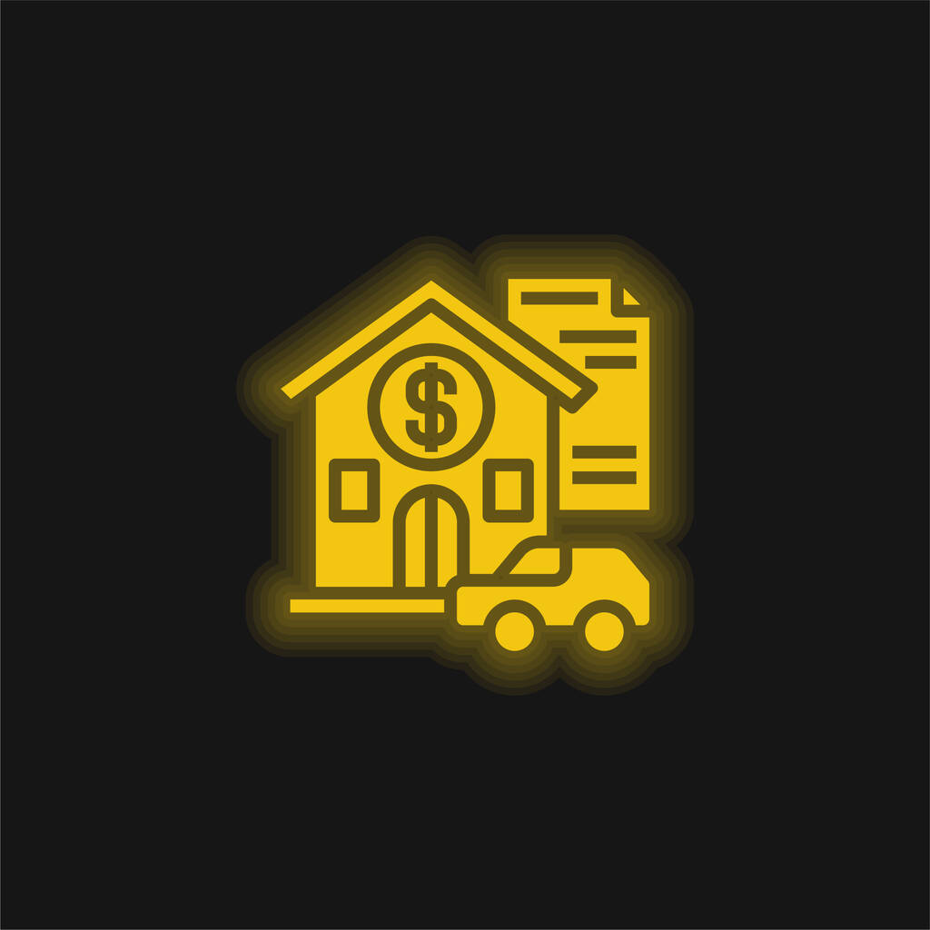 Asset yellow glowing neon icon