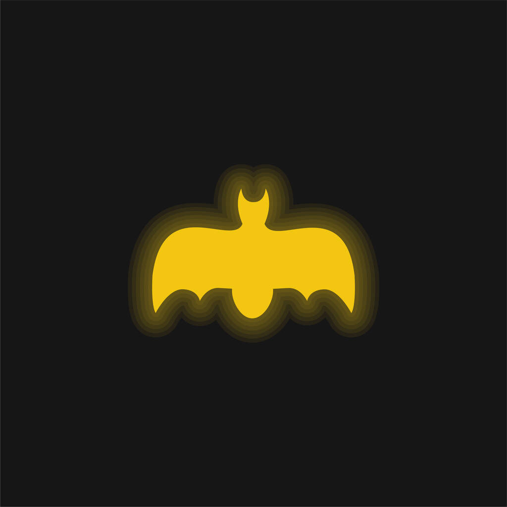 Bat With Open Wings yellow glowing neon icon