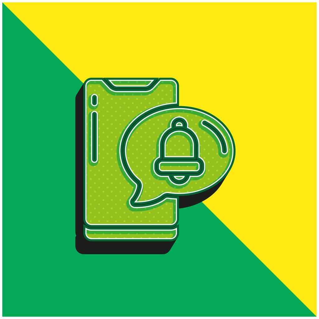 Alarm Green and yellow modern 3d vector icon logo