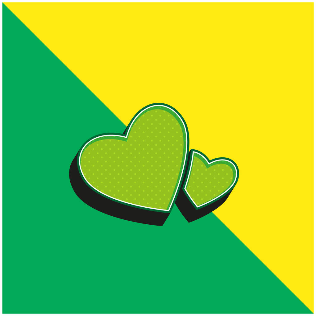 Big And Small Hearts Green and yellow modern 3d vector icon logo
