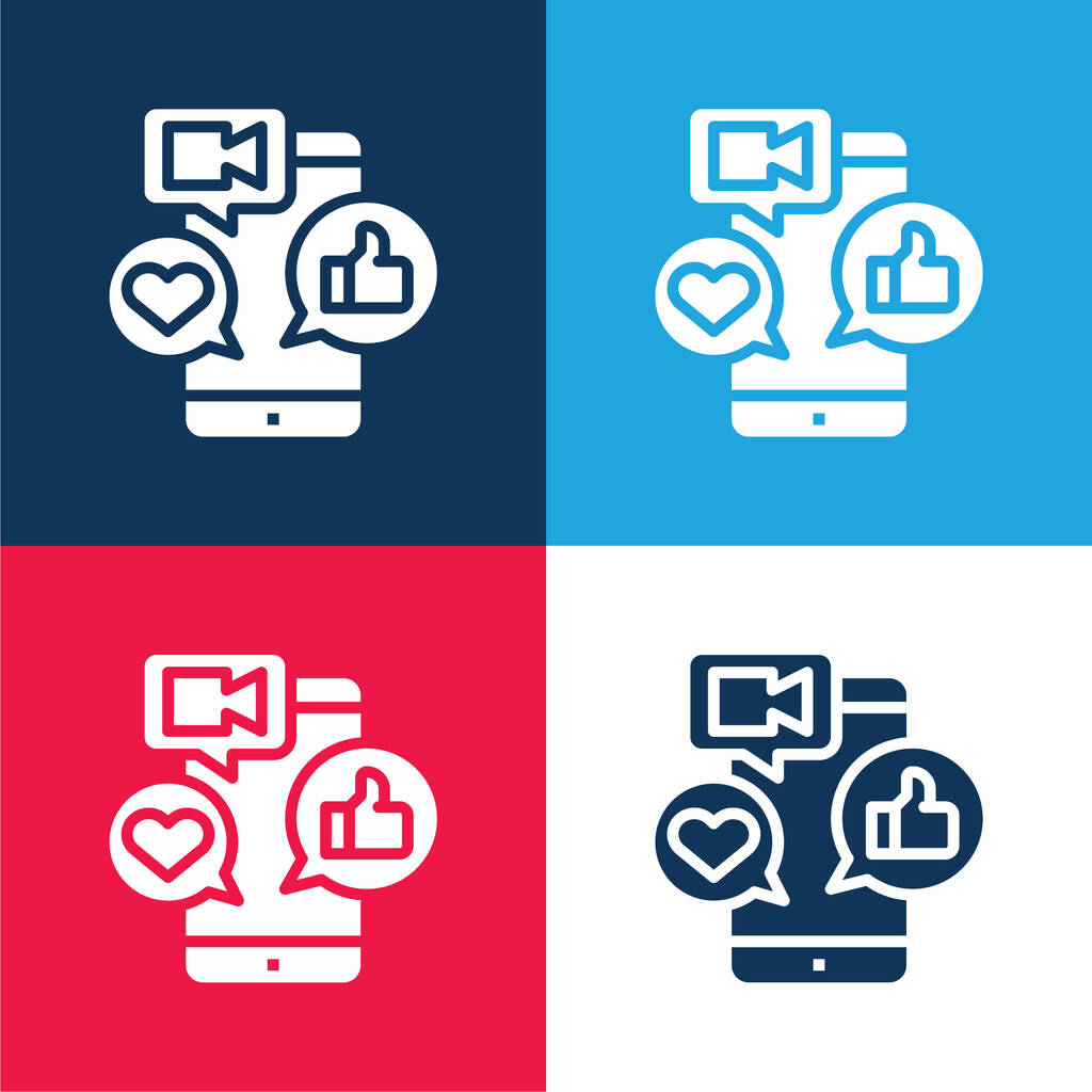App blue and red four color minimal icon set