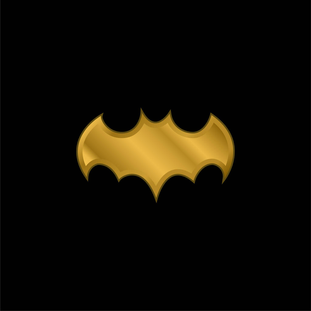 Bat Black Shape With Open Wings gold plated metalic icon or logo vector