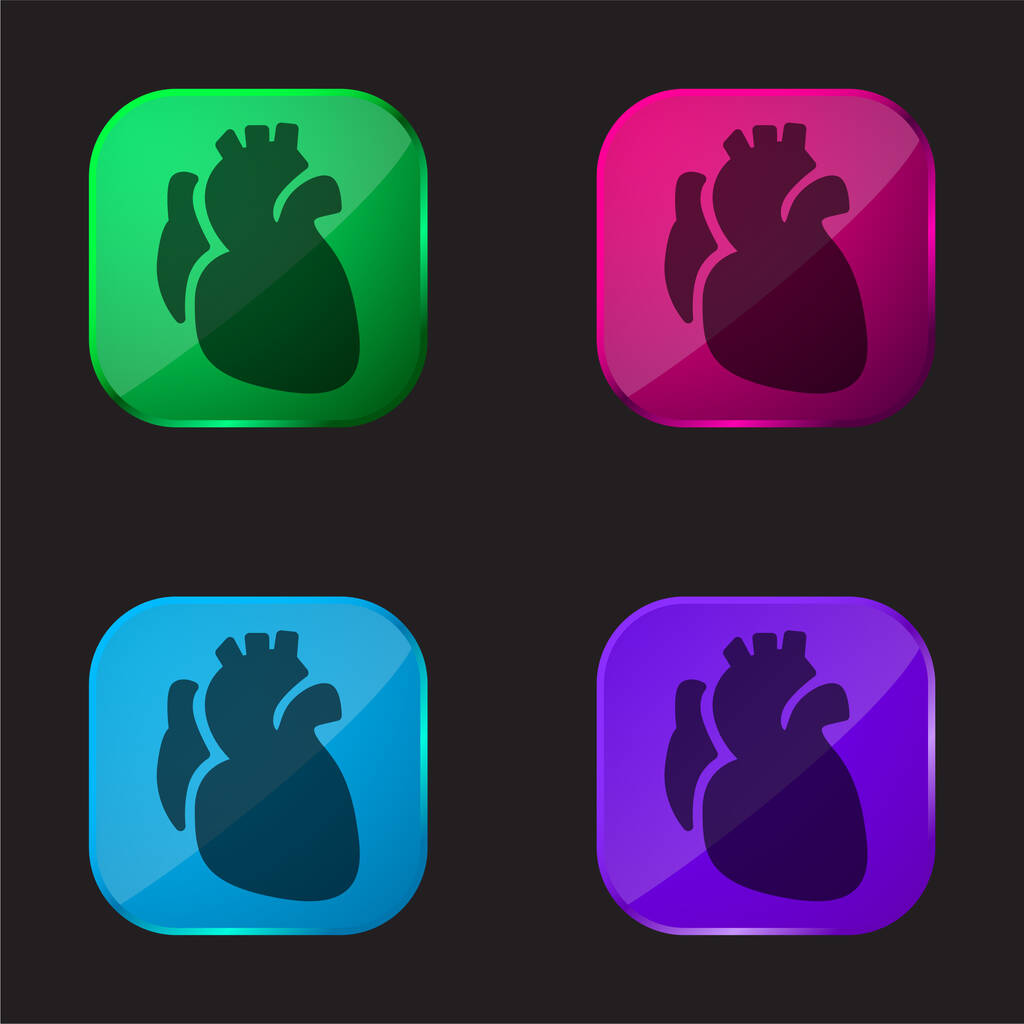 Anatomic Heart four color glass button icon