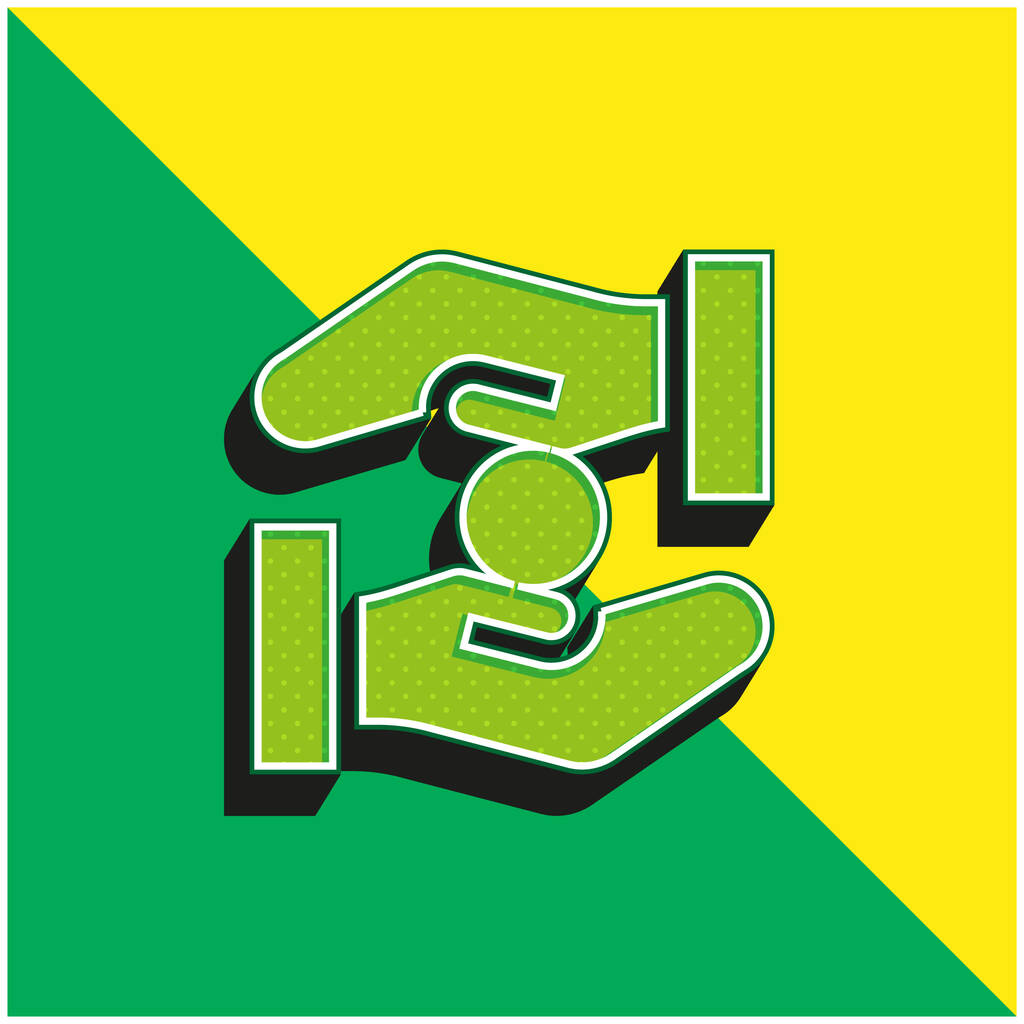 Alms Green and yellow modern 3d vector icon logo