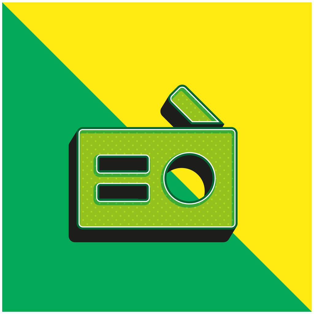 Antique Radio Green and yellow modern 3d vector icon logo