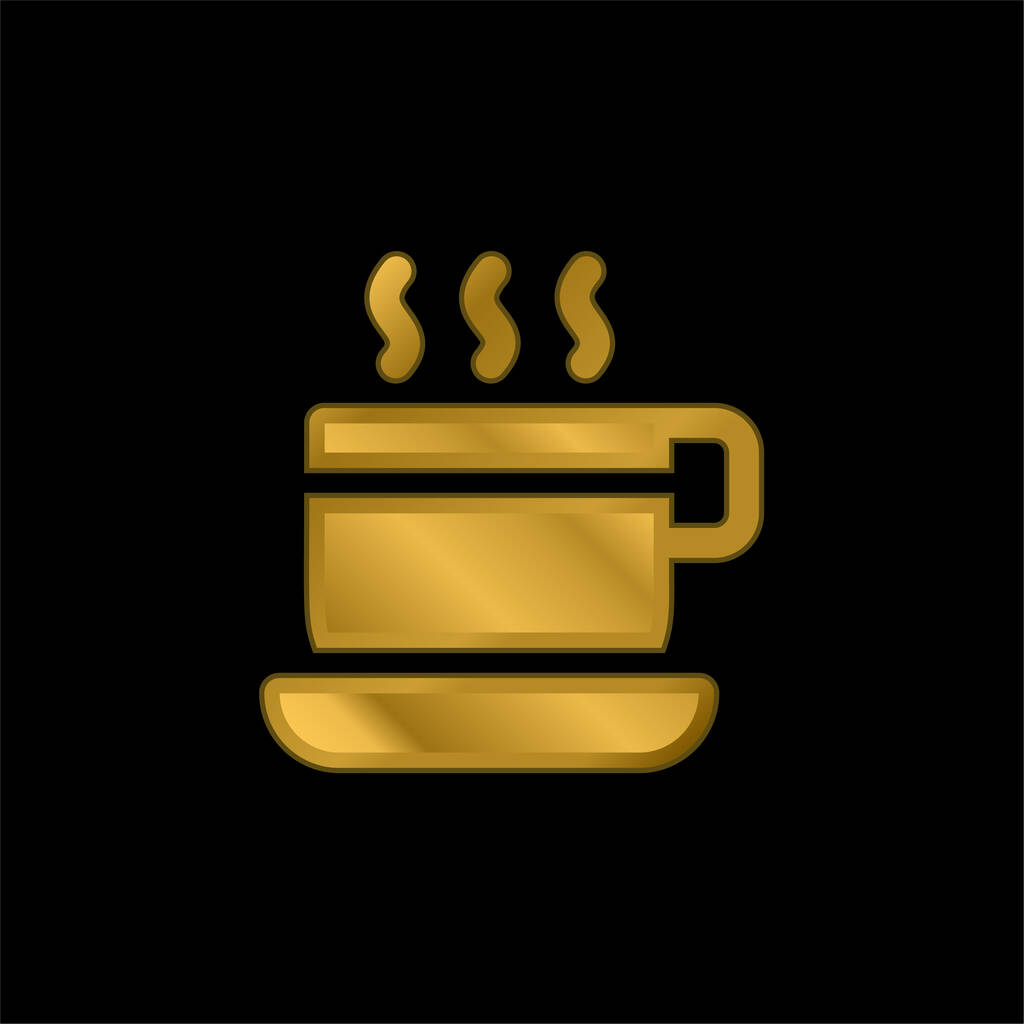Break Time gold plated metalic icon or logo vector
