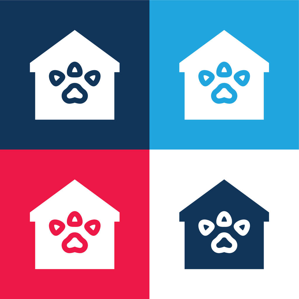 Animal Shelter blue and red four color minimal icon set