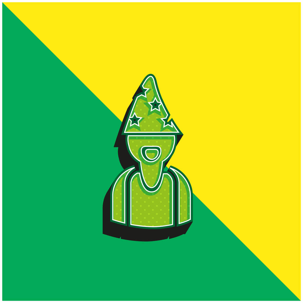 Astrologer Wearing Hat With Stars Green and yellow modern 3d vector icon logo