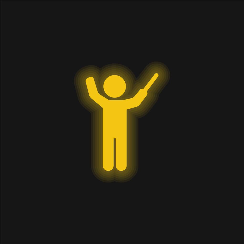 Bandmaster yellow glowing neon icon