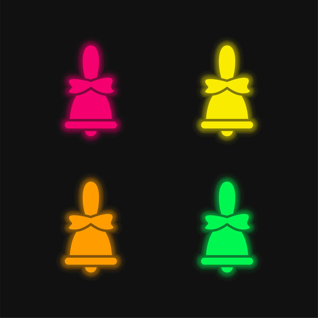 Bell four color glowing neon vector icon