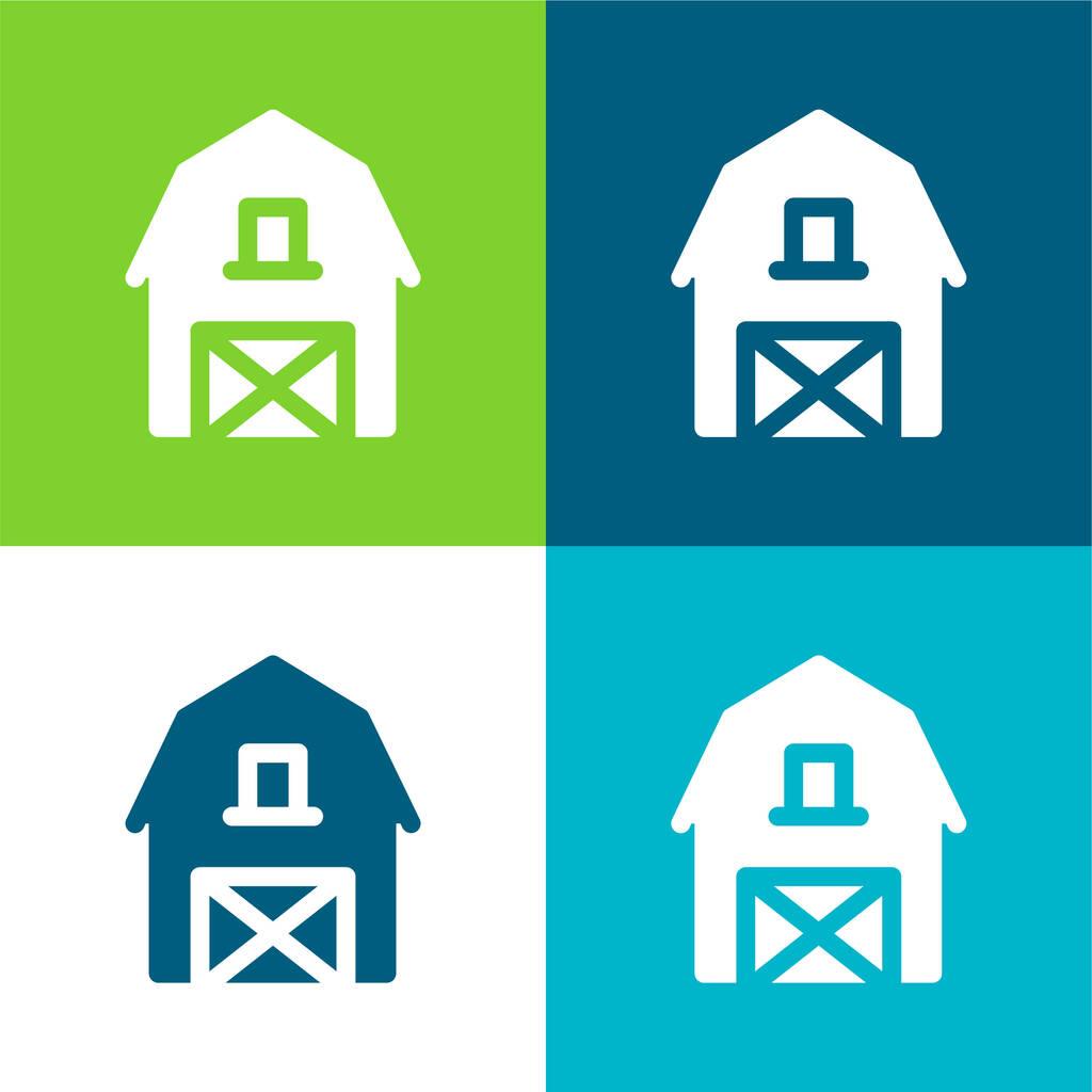 Barn Flat four color minimal icon set