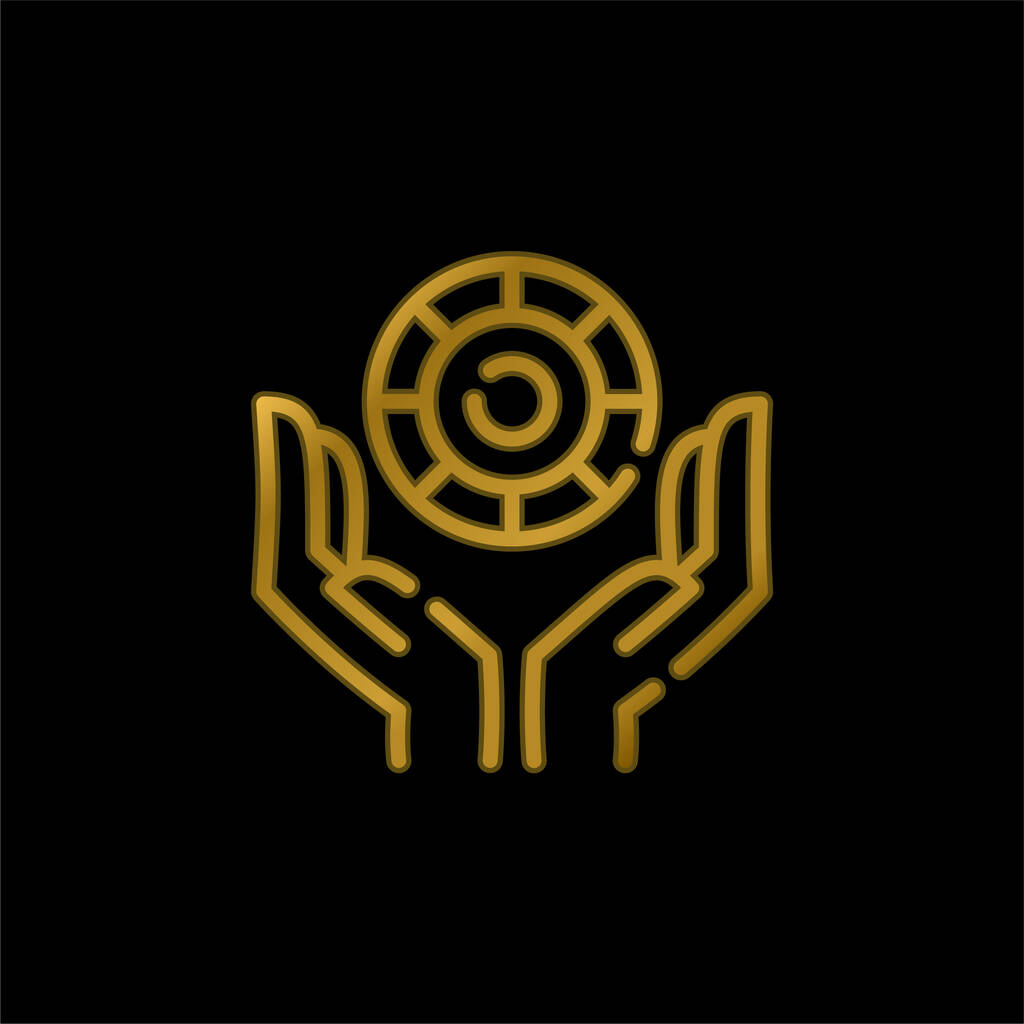 Bet gold plated metalic icon or logo vector