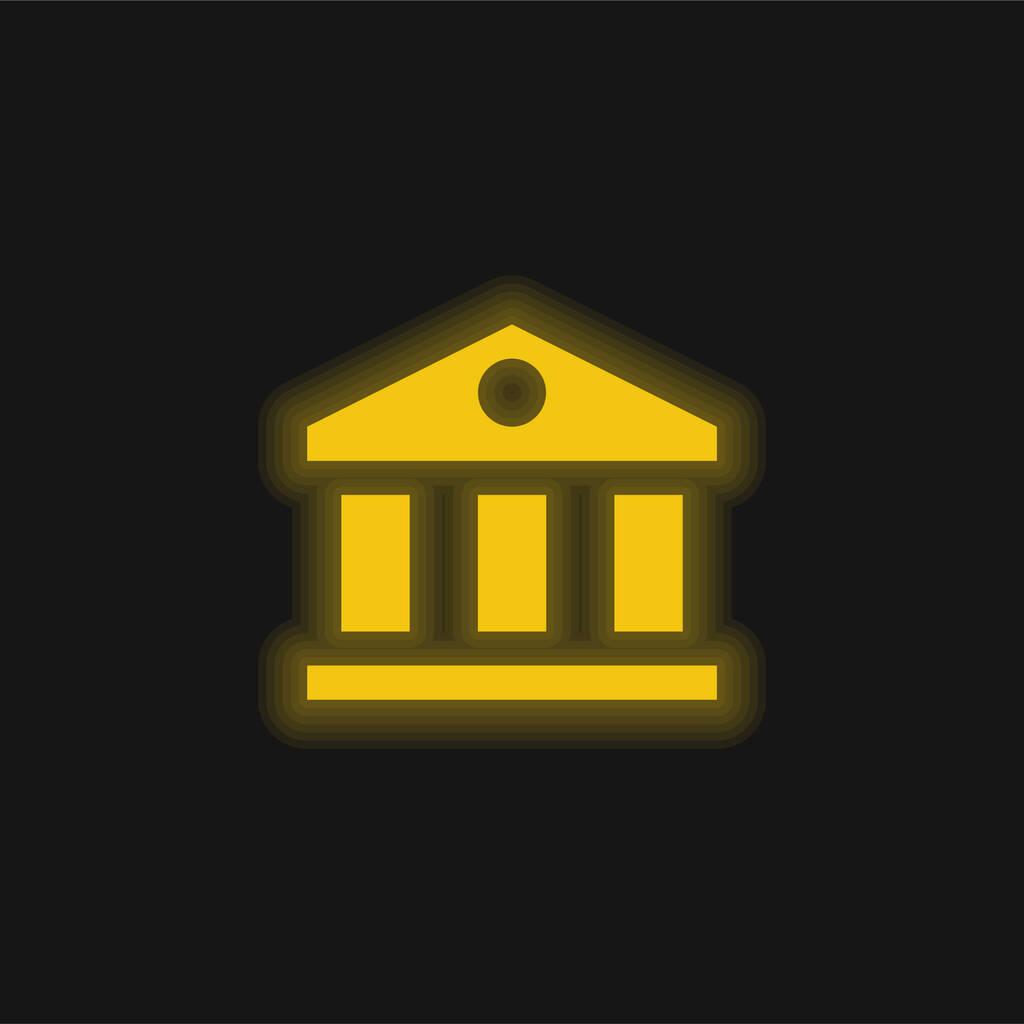 Bank yellow glowing neon icon