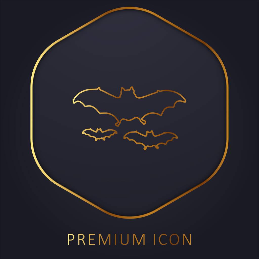 Bats Flying golden line premium logo or icon
