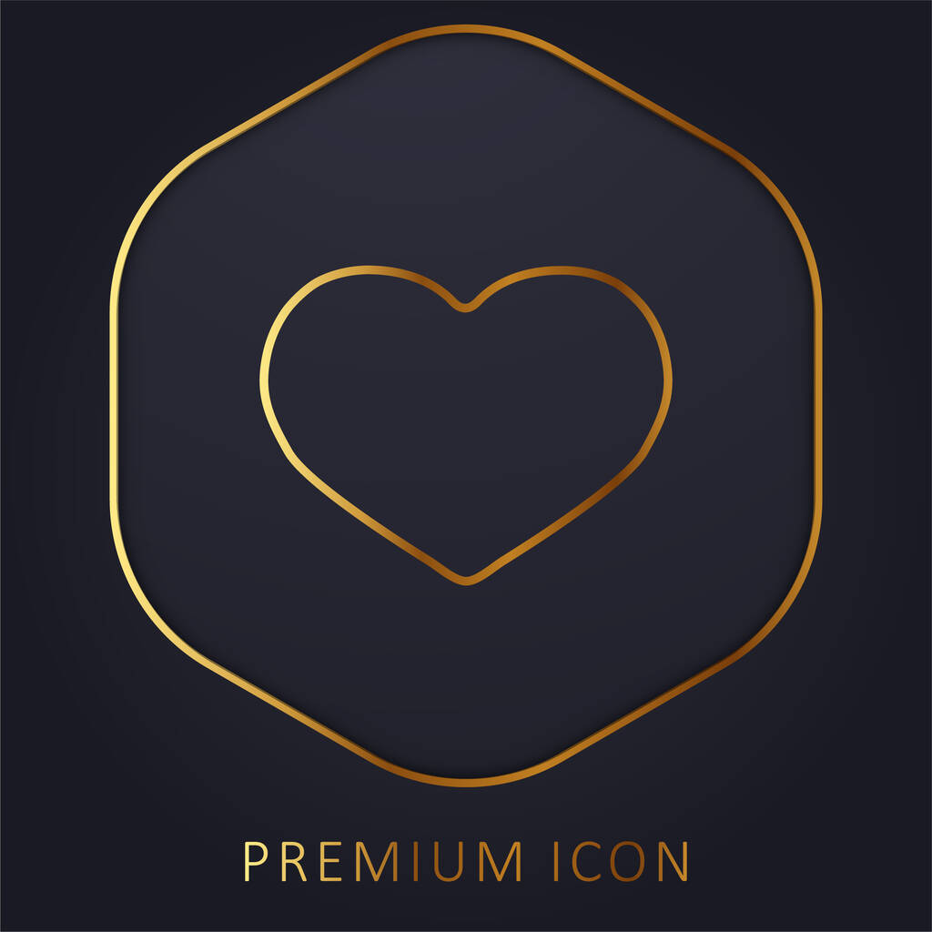 Big Black Heart golden line premium logo or icon