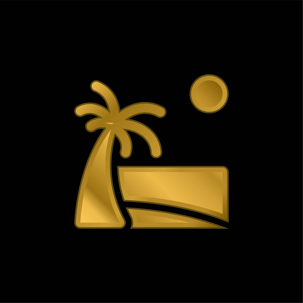 Beach gold plated metalic icon or logo vector