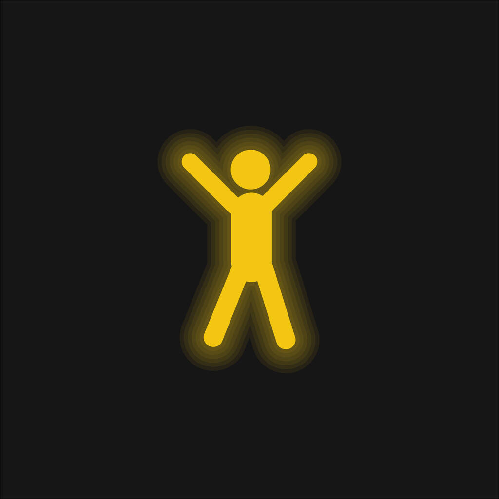 Arms Up yellow glowing neon icon