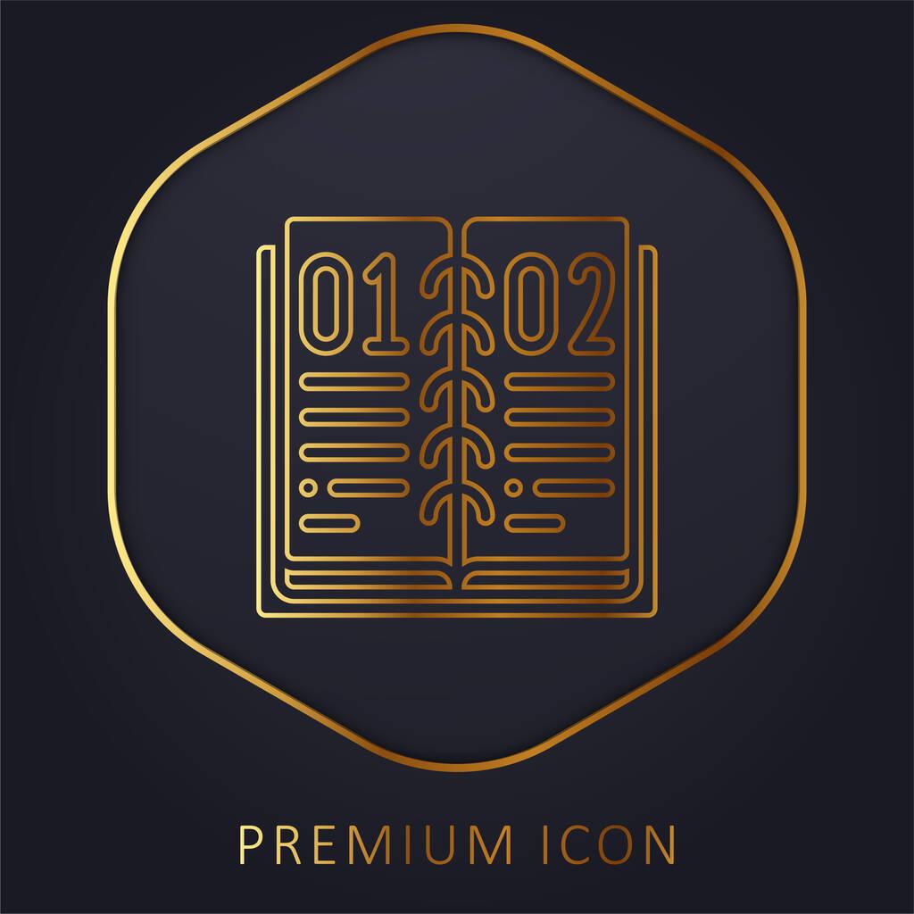 Book golden line premium logo or icon