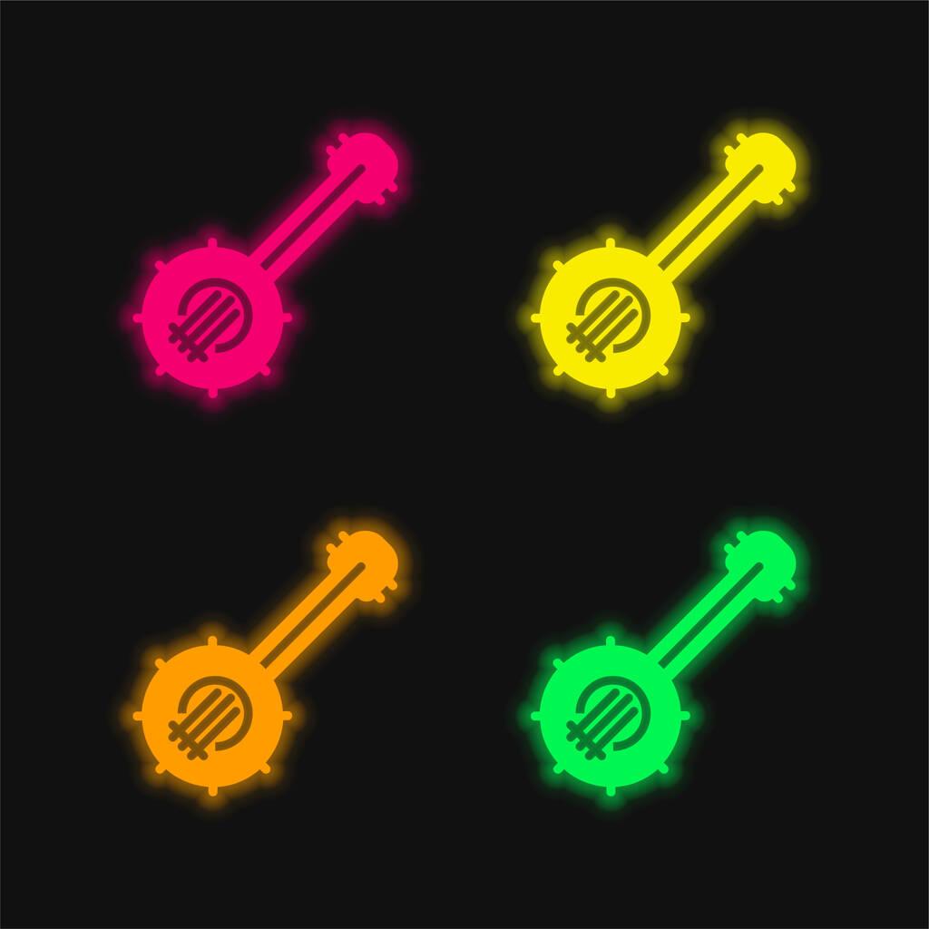 Banjo four color glowing neon vector icon