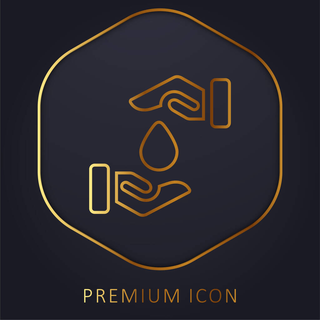 Blood Drop golden line premium logo or icon