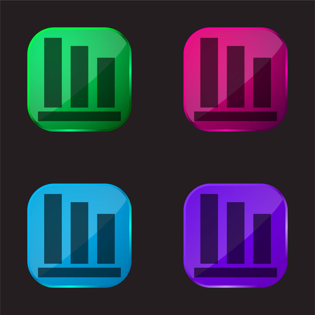 Bar Chart four color glass button icon