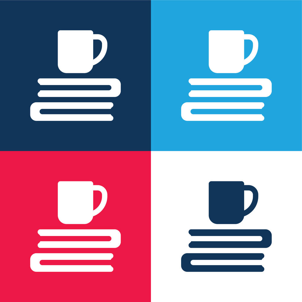 Books blue and red four color minimal icon set