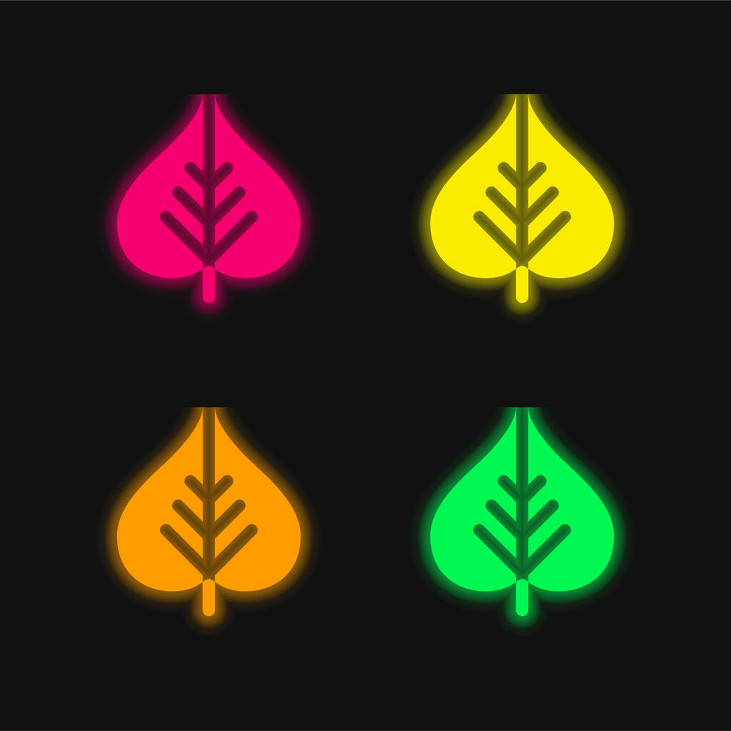 Bodhi Leaf four color glowing neon vector icon