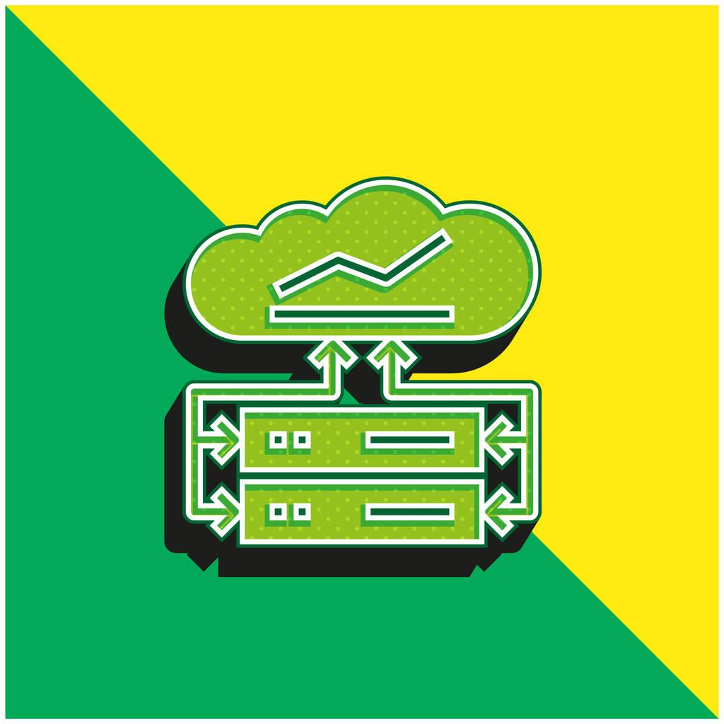 Big Data Green and yellow modern 3d vector icon logo
