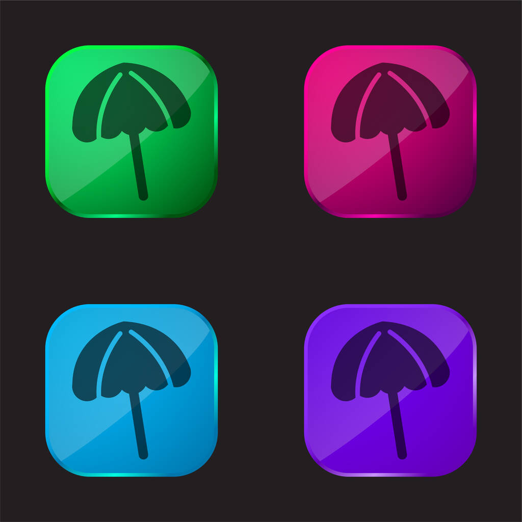 Black Beach Umbrella four color glass button icon