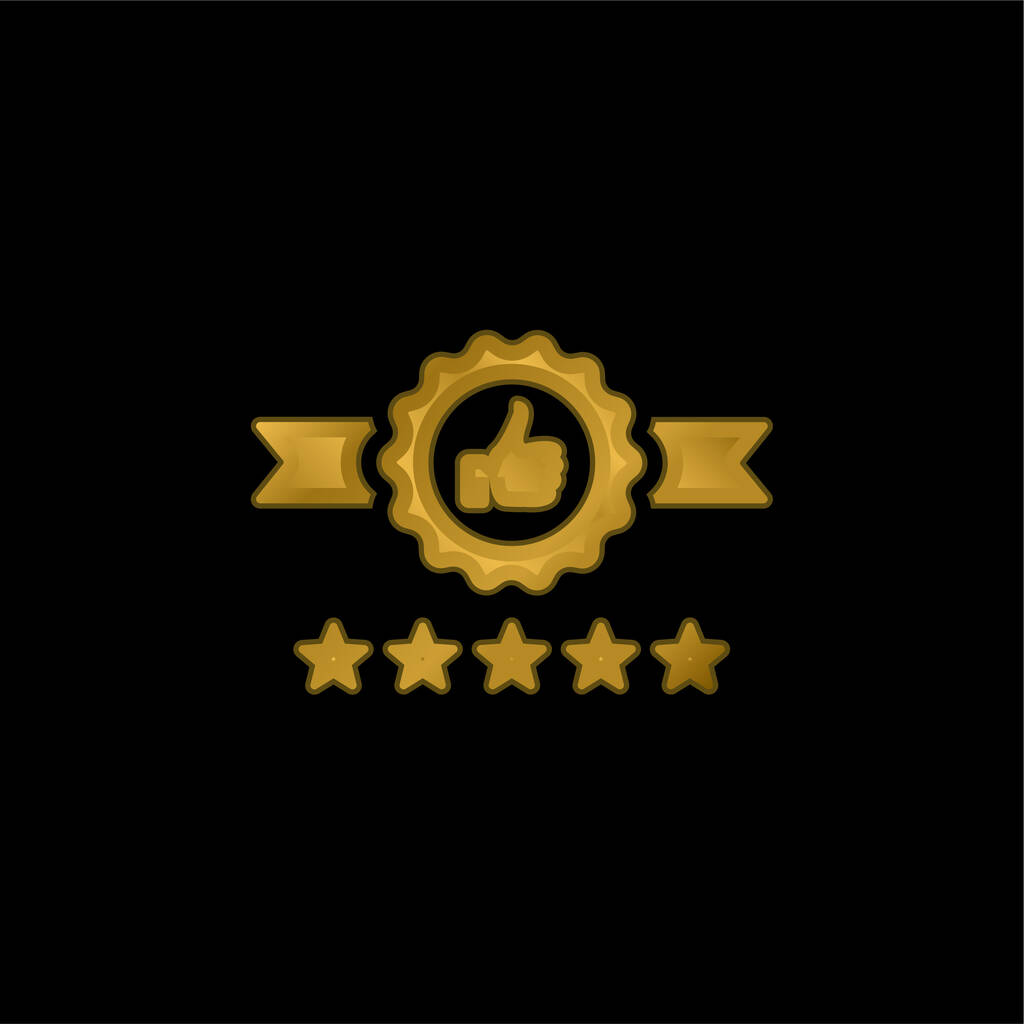 Badge gold plated metalic icon or logo vector