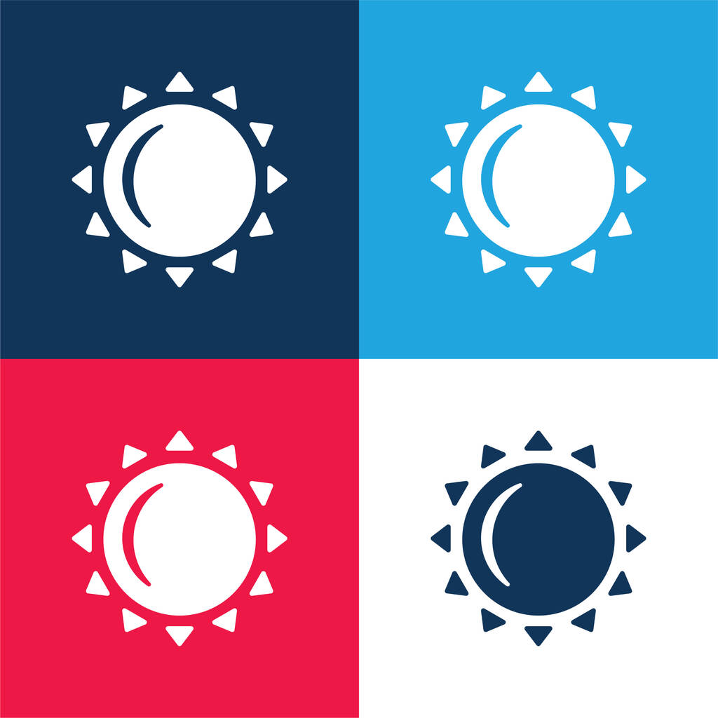 Big Sun blue and red four color minimal icon set