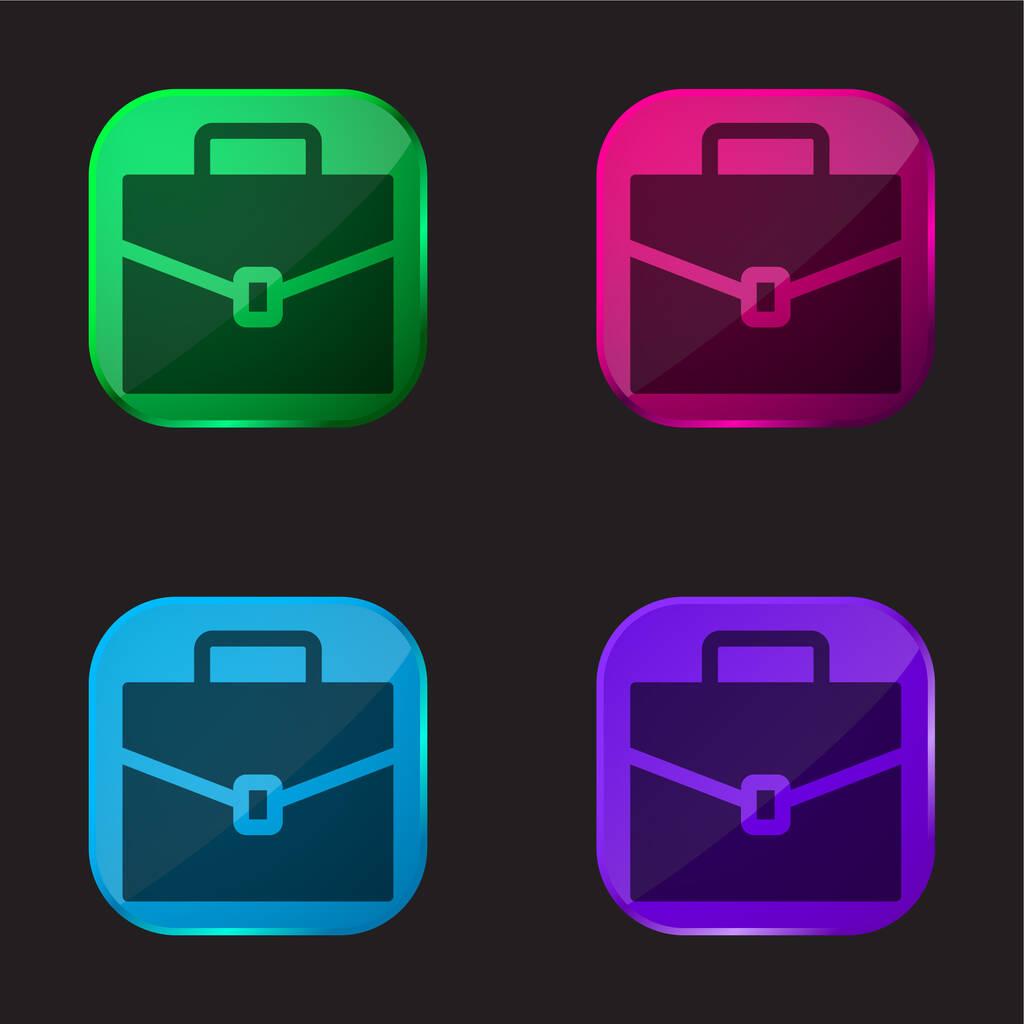 Briefcase four color glass button icon