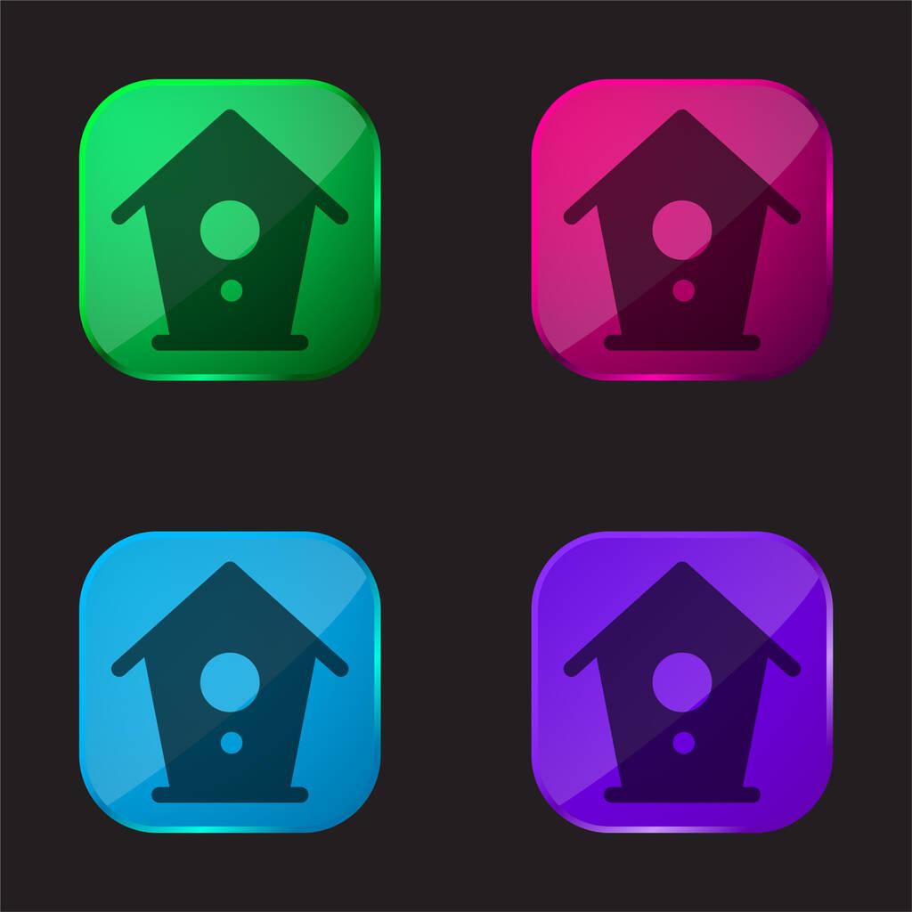 Birdhouse four color glass button icon
