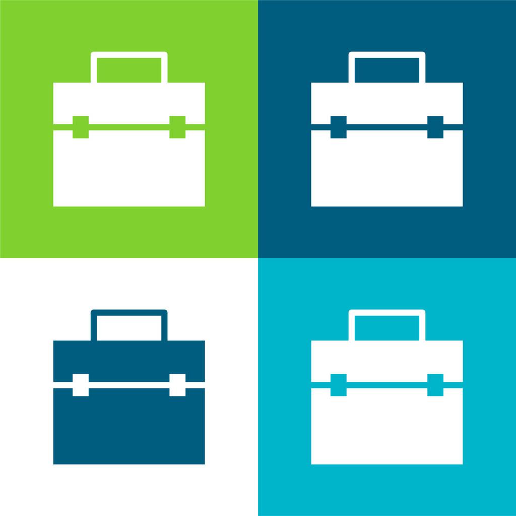 Briefcase Flat four color minimal icon set