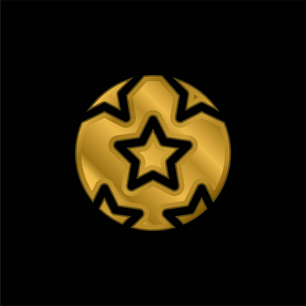 Ball With Stars gold plated metalic icon or logo vector