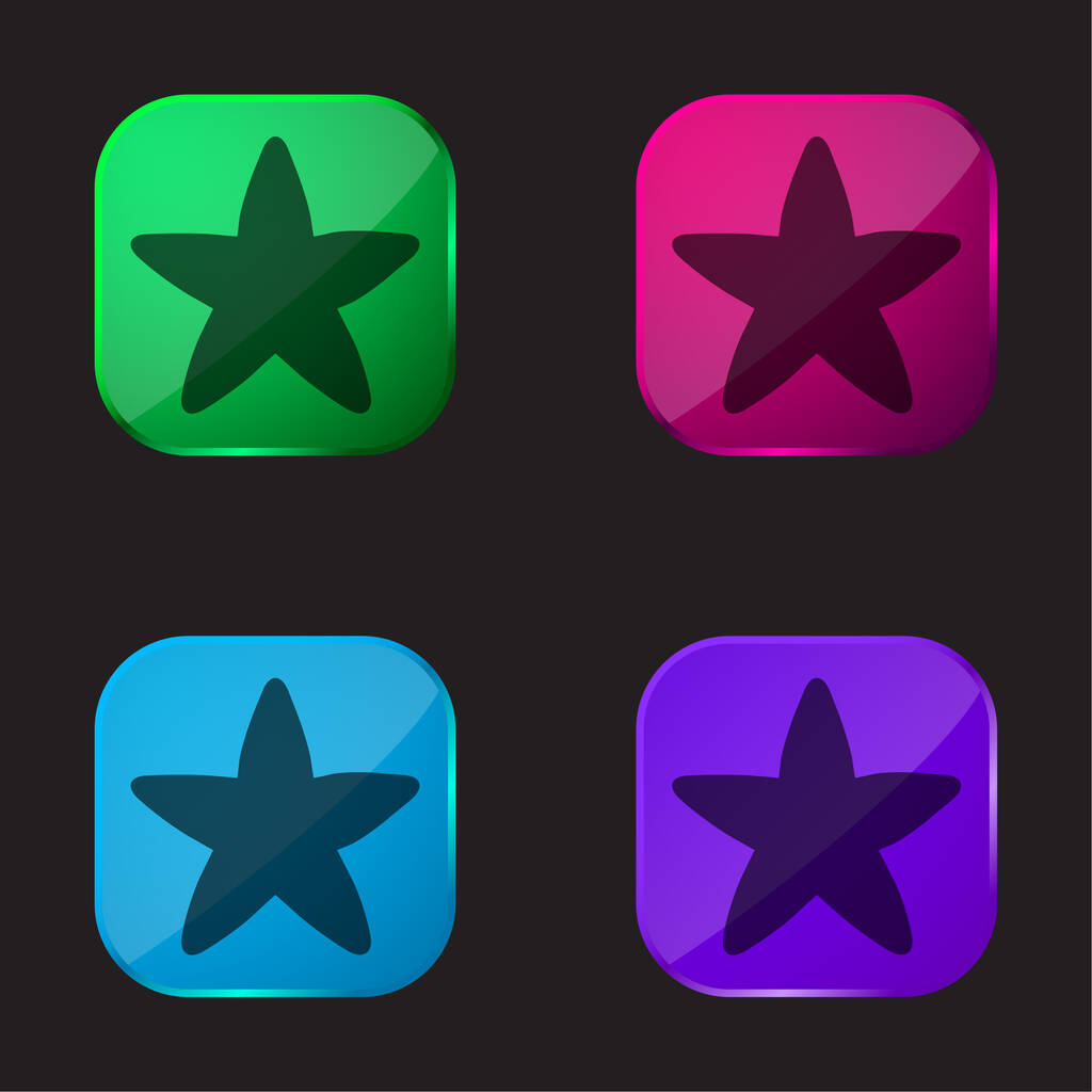 Black Rounded Star four color glass button icon